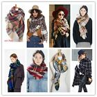 Bloggers Lady Favourite Blanket Oversized Tartan Scarf Plaid Checked Wrap Shawl