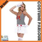Womens Blue Striped Navy Sailor Moon Fancy Dress Ladies Costume All Sizes