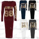Womens Ladies Genius 98 Gold Foil Print Long Sleeves Jersey Bodycon Midi Dress