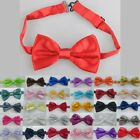 A Fashion New Mens 30 Style Pure Plain Bowtie Polyester Pre Tied Wedding Bow Tie