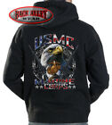 USMC EAGLE Hooded Sweat Shirt Hoodie ~ Marine Corps ~ M16 Rifle Soldier Vet