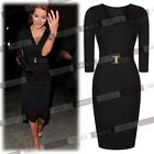 Women's  V-neck Bodycon Workwear Evening Pencil Party Dresses With Waist buckle