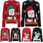 Womens Ladies Novelty Xmas Christmas Rudolph 3D Snowman Knitted Jumpers Sweaters
