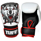 New TUFF Muay Thai Boxing Gloves White Wolf (N) Kick Boxing Training Fighting