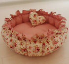 Pastoral 100% Cotton Handmade Pet Dog Cat Bed House Cushion Round S,M,L Red
