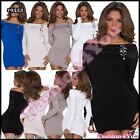 Jumper Mini Dress Sexy Women's Ladies Knitted Pullover ONE SIZE 8,10,12,14 UK
