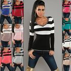 Women's Knitted Striped V-Neck Sweater Pullover Top - S/M (US 2-4-6)