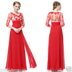 Lace 3/4 Sleeve Long Evening Prom Party Wedding Gown Dress Size 10-18 *UK SELER*
