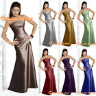 8 Colour Bridesmaid Formal Evening Dress Prom Gown Ball Cocktail Satin Size 6-26