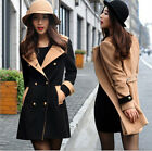 Womens Wool Blend Double-breasted Lapel NEW Stylish Jacket Trench Coat Outerwear