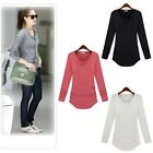 New Womens Ladies Long Sleeve Button Casual Top Tee T SHIRT Blouse SIZE S-L 8 12