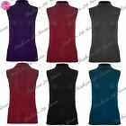 Womens Ladies Fine Knitted Sleeveless Turtle Polo Roll Neck Stretchy T Shirt Top