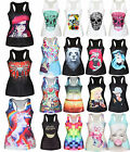 Women Casual 3D Graphic Printed Vest Blouses Gothic Party Punk Clubwear T-Shirts