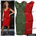 Sexy Celebrity Womens Pleated Deep V Neck Bandage Evening Party Dress Red Green