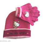Hello Kitty Girls Warm Knitted Beanie Hat & Gloves Set 3-7 Years - 2 Colours