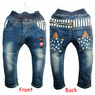 Baby Toddlers Kids Jeans London Soldaten Style Elastic Waist star pattern 18M-5Y