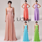 Sleeveless Chiffon Prom Bridesmaid Wedding Maxi Dress Size AU6-20