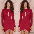 Womens Red Asymmetric Hem Bodycon Fitted Short Mini Party Evening Tunic Dress