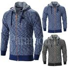 Harry Waffle Marl Fleece Full Zip Skinny Slim Fit Hoody  Mens Size