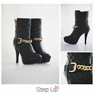 NEW Women's Black Patent Leather Quilted Chain & Buckle Stiletto Boots