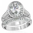 Women's Stainless Steel Halo Oval Cut AAA CZ Wedding Ring Set Size 5,6,7,8,9,10