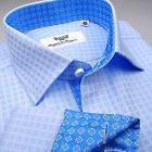 Luxury Blue Fade Herringbone Formal Business Shirt Sydney Dressy B2B Boss Design