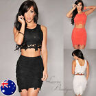 Sexy Two-Piece DAISY LACE CROP TOP & SKIRT SET Party Races Mini Dress Sz AU 6-12