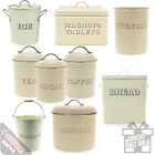 Kitchen Storage Tins Cream Country Style Vintage Look Farmhouse Canisters Tubs