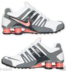 NIKE SHOX CURRENT WOMENs LEATHER M RUNNING WHITE BRIGHT MANGO COOL GREY NEW