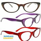 READING Glasses Women's Classic OVAL PURPLE,RED,BLUE,BLACK 100,150,200,250 Stacy