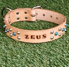 "TAN 1.5"" 38mm Stained Personalized Pet Name Dome Studded Real Leather Dog Collar"