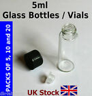 5ml Empty Glass Bottles / Vials screw top lid with plastic seal cap - UK Stock