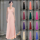 New Bridesmaids Dresses Long V-Neck Prom Evening Dress Wedding Gowns Size 6-26