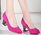 Vogue Womens Mid Chunky Heels Faux Suede Pointy Toe Lining Wedge Pumps Shoes