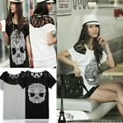 Korean Women's Casual Skull Lace Short Sleeve Loose T-Shirt Blouse Top Fad Style