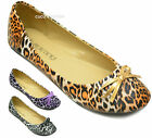 New Womens Ballerina Ballet Dolly Ladies Leopard Bow Flats Shoes Pumps Size UK