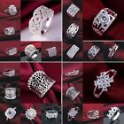 Women's S925 Sterling Silver SP Rhinestone/Crystal Wedding  Ring US size 7 8