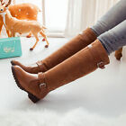 Stylish womens lady  knee high boots low heel pull on buckle riding shoes