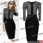 Womens Stylish Dog Tooth Print Celebrity Tunic Bodycon Dresses Black Size 8-18