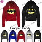 Womens Ladies Batman Fleece Full Sleeve Crop Cropped Hoodie Hoody Sweatshirt Top