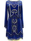 BNWT BLUE Long sleeve embellished 1970's shift dress sizes 8 10 12 14 16 18 20