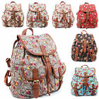 Ladies Girl's Womens Designer Canvas Owl Print School College Backpack Rucksack