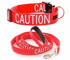 Snap Buckle Dog Collar Sets Red CAUTION Strong As Leather S M L XL Short Long
