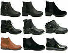New Womens Ladies Ankle Boots Flat Low Heel Chelsea Biker Black Shoe Size UK 3-8