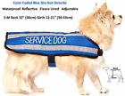 Coat Color Coded Blue SERVICE DOG S M L XL Fleece Lined Reflective Rainproof