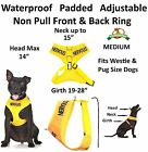 Non Pull Front Back Ring Dog Pet Vest Harness Padded Waterproof Yellow NERVOUS