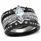 Marquise Wedding Ring Set 2.50 Ct CZ Black Stainless Steel Women's Size 5-11