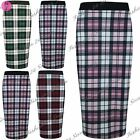 Womens Ladies Tartan Checked Printed Knee Length Bodycon Midi Skirt Plus Size