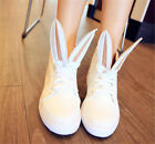 Sweet Womens Round Toe Lace Up High Top Sneakers Rabbit Ear Decor Casual Shoes