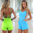 New Hot Sexy Women Celeb V-neck Backless Playsuit Summer Beach Jumpsuit Shorts
